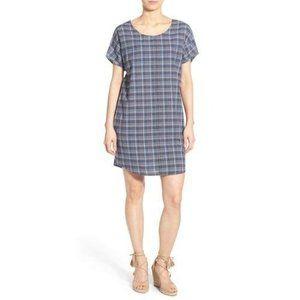 NWT Sundry Dress Plaid Shift Cotton Pockets Blue